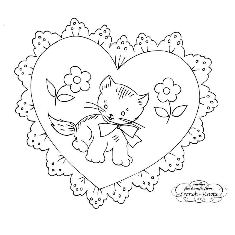 valentine heart kitten embroidery