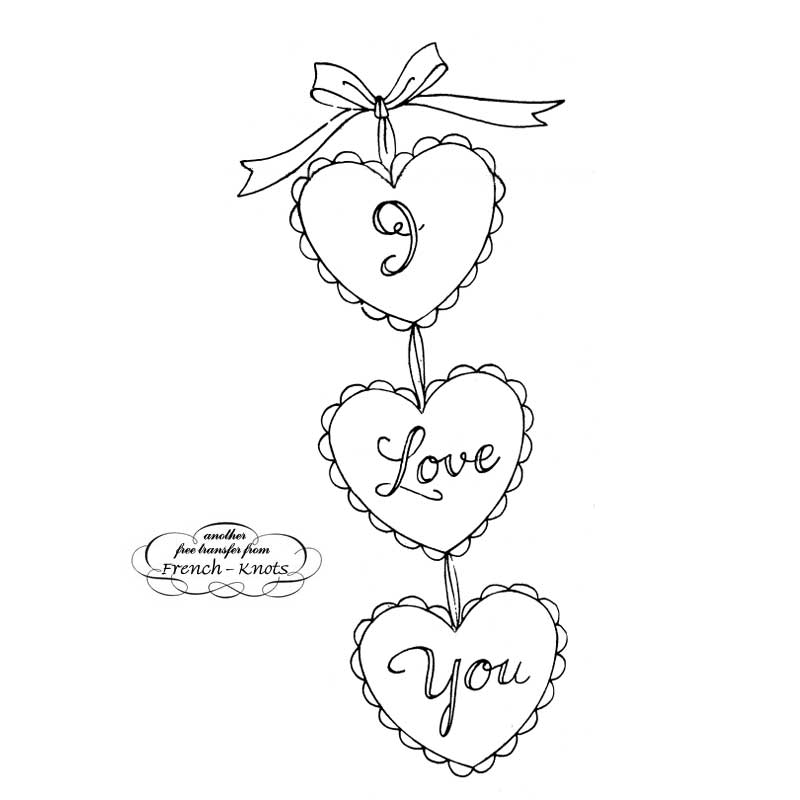 valentine hearts embroidery pattern