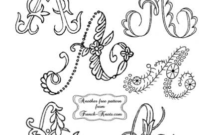 """A"" single letter monogram embroidery patterns"