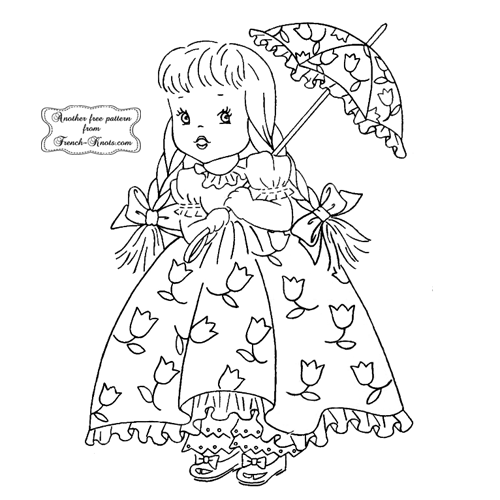 Miss April girl embroidery pattern