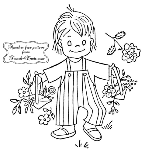 basket boy embroidery pattern