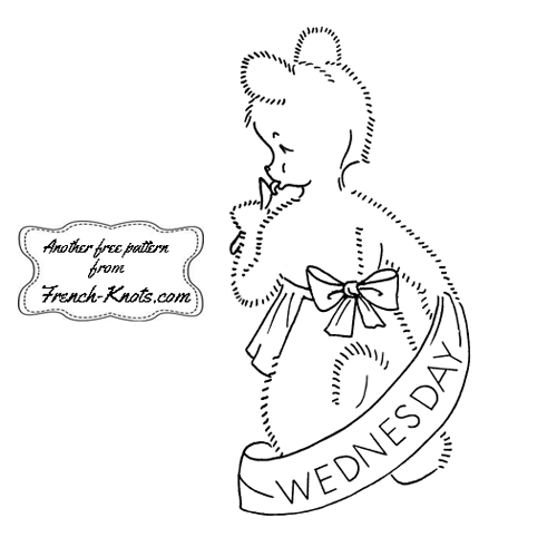 bear day-of-the-week set embroidery pattern
