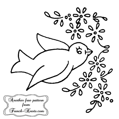 bird and daisies embroidery pattern