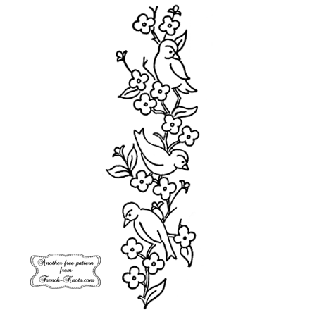 birds and flowers embroidery pattern