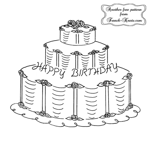 brithday cake embroidery pattern