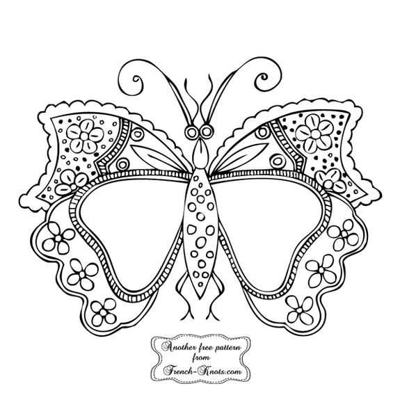 butterfly-monogram frame embroidery pattern