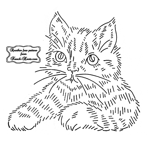 striped cat embroidery pattern