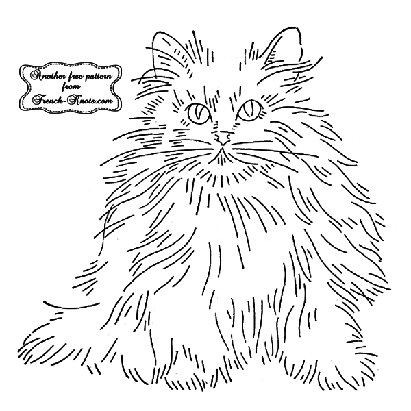 fluffly cat embroidery pattern