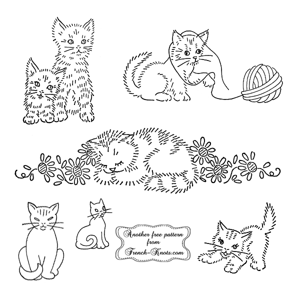 small cats embroidery patterns