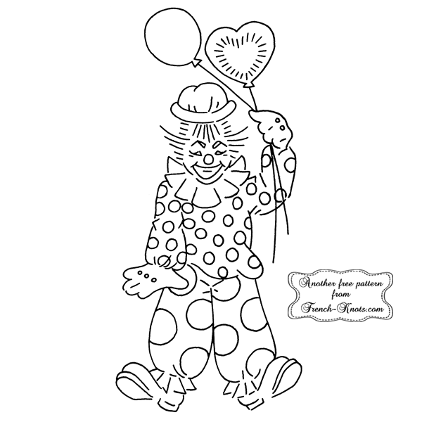 clown with balloons embroidery pattern