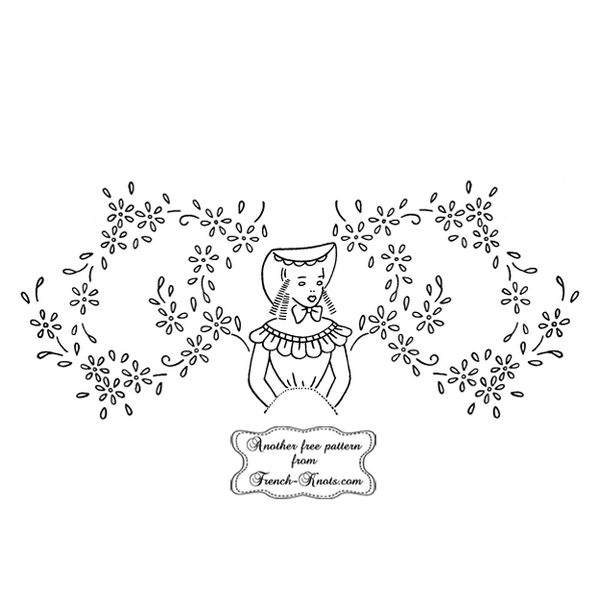 colonial girl daisy border embroidery pattern