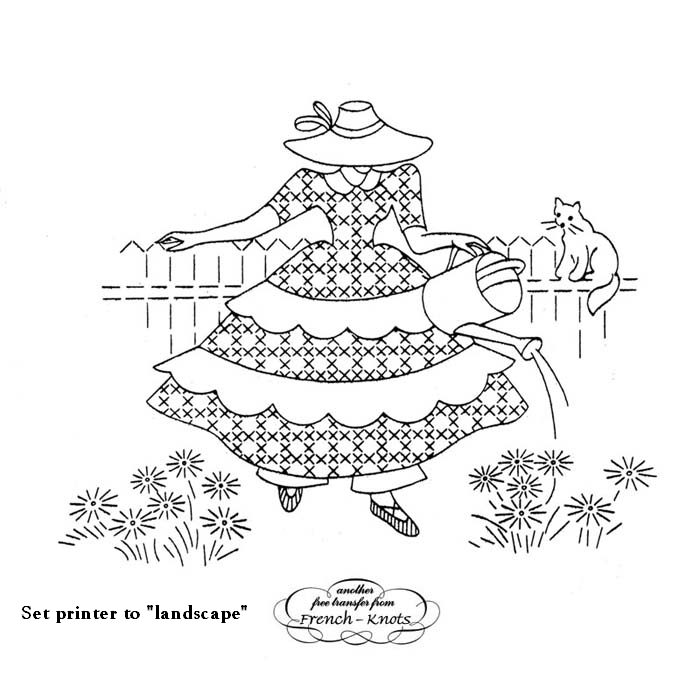 colonial woman embroidery pattern