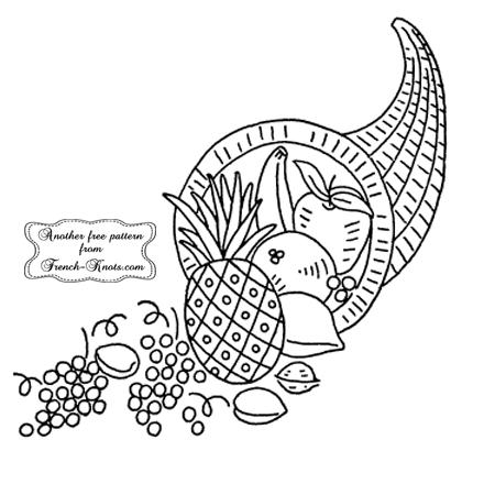 Thanksgiving cornucopia embroidery pattern