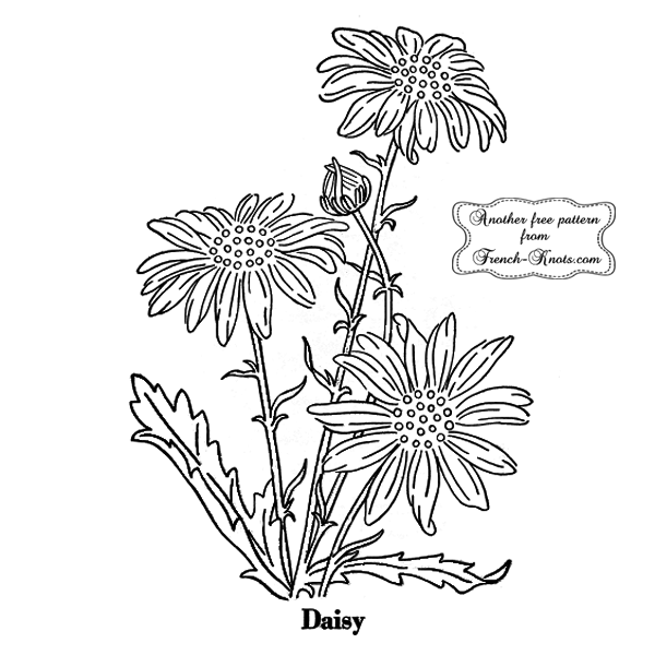 daisy flower embroidery pattern