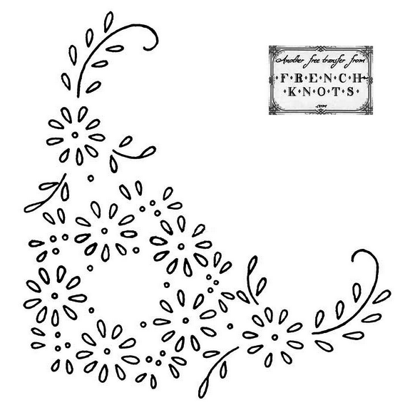daisy corner embroidery pattern