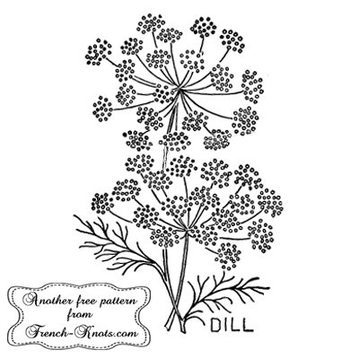 dill herb embroidery pattern