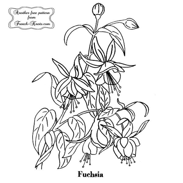fuchsia flower embroidery pattern