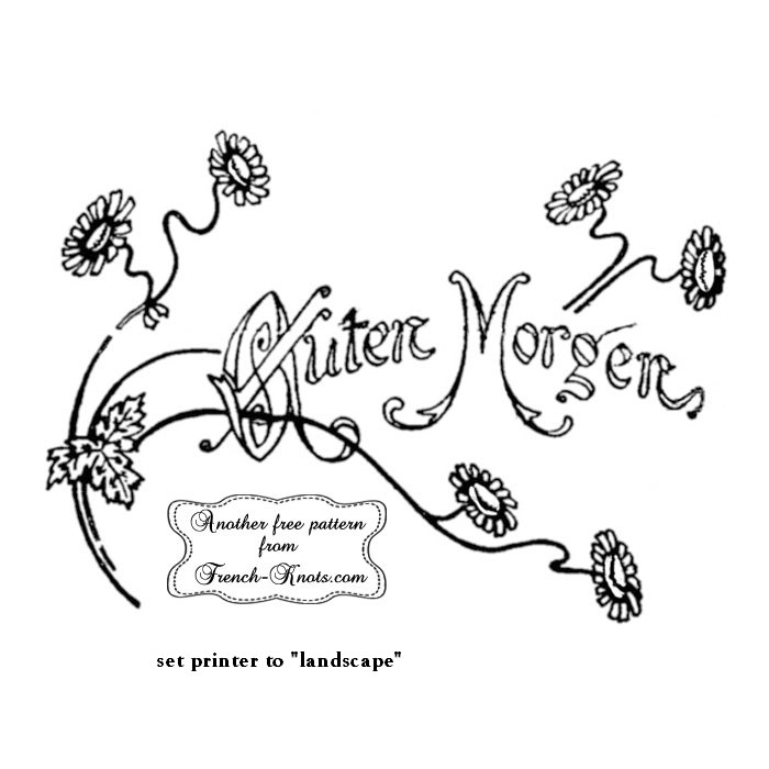 german guten morgen embroidery pattern