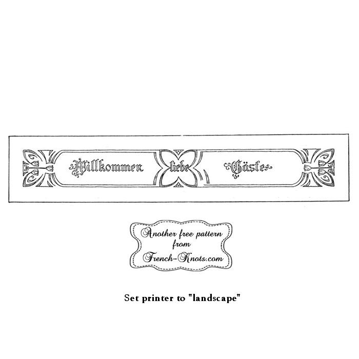 german willkommen embroidery pattern