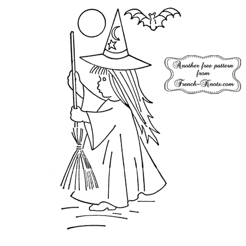 little girl halloween witch embroidery pattern