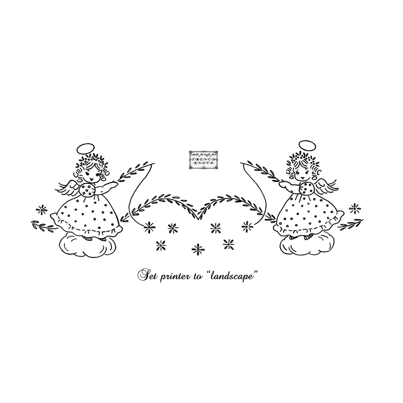 angels pillowcase embroidery pattern