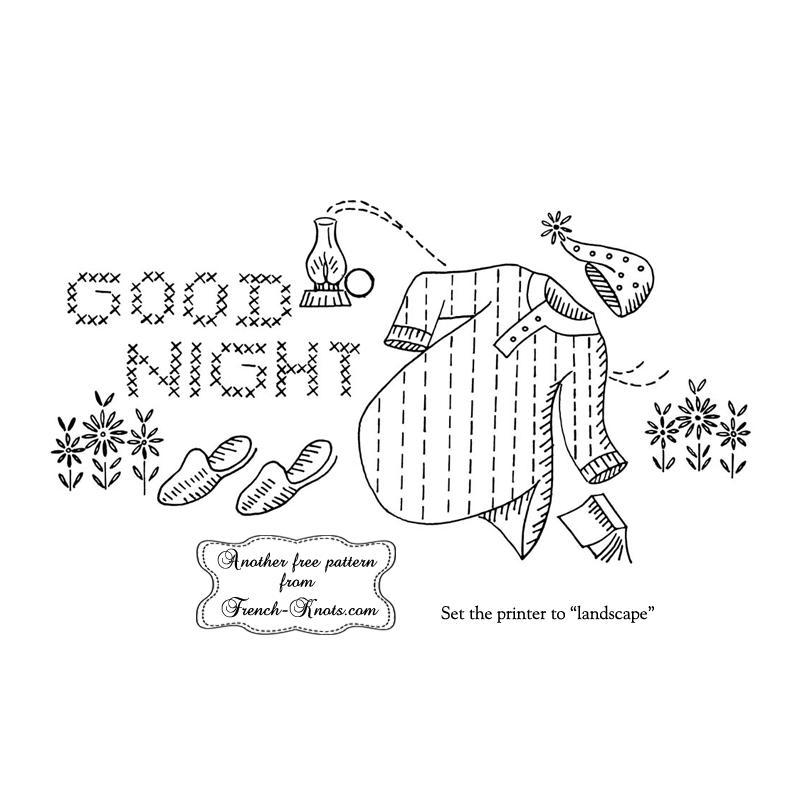 good night pillowcase embroidery pattern