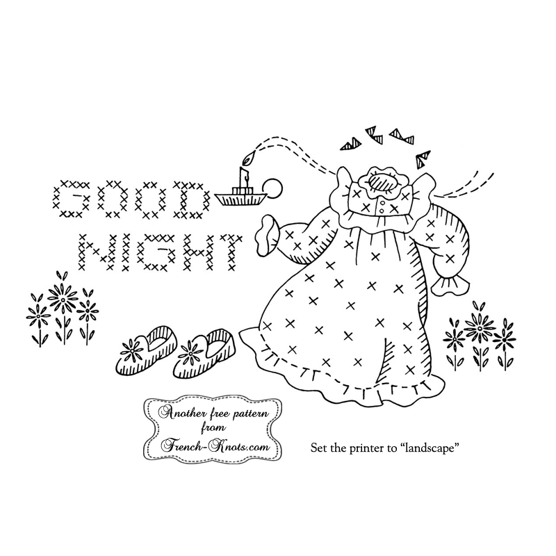 good night pillowcase embroidery pattern
