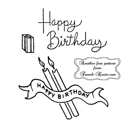 happy birthday candles embroidery pattern