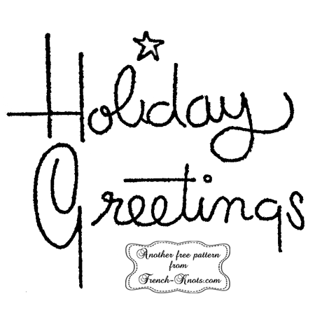 holiday greetings embroidery pattern