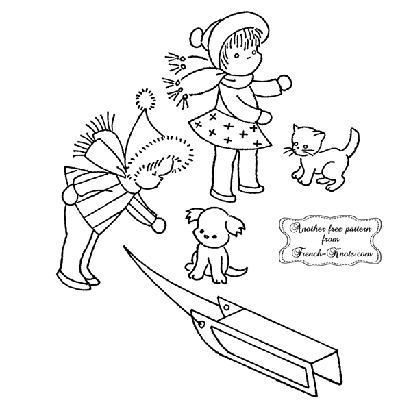winter kids and sled embroidery patterns