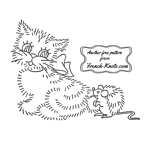 kitten set embroidery patterns