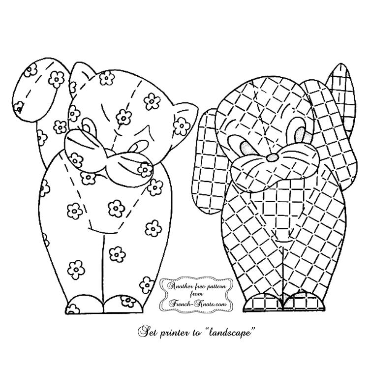kitten & puppy applique embroidery pattern