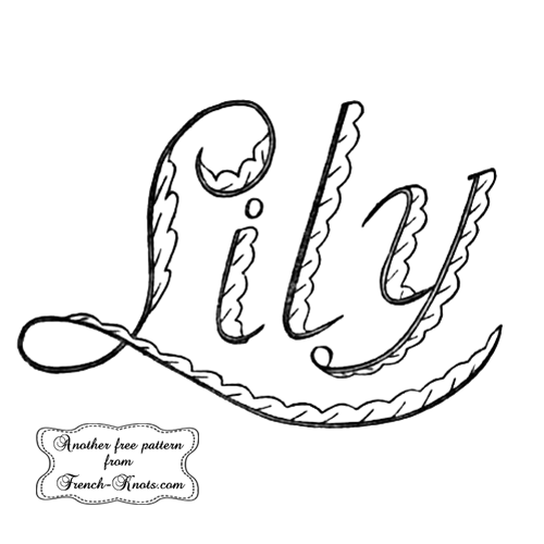 lily monogram embroidery pattern