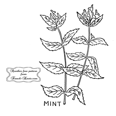 mint herb embroidery pattern
