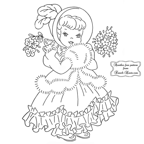 Winter girl embroidery pattern