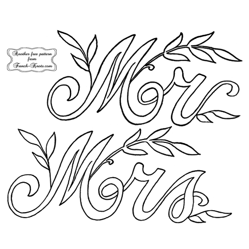 mr and mrs embroidery patterns