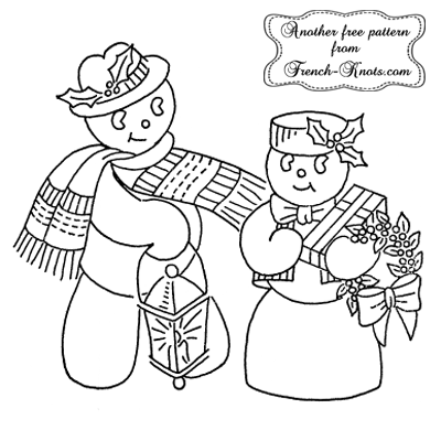 mr and mrs snowman embroidery pattern