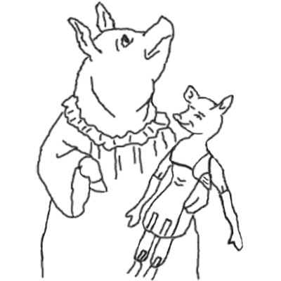 pig and doll embroidery pattern