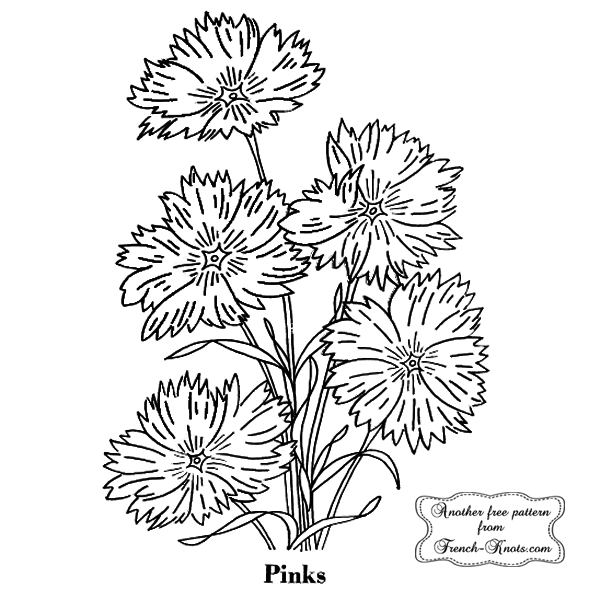 pinks floral embroidery pattern