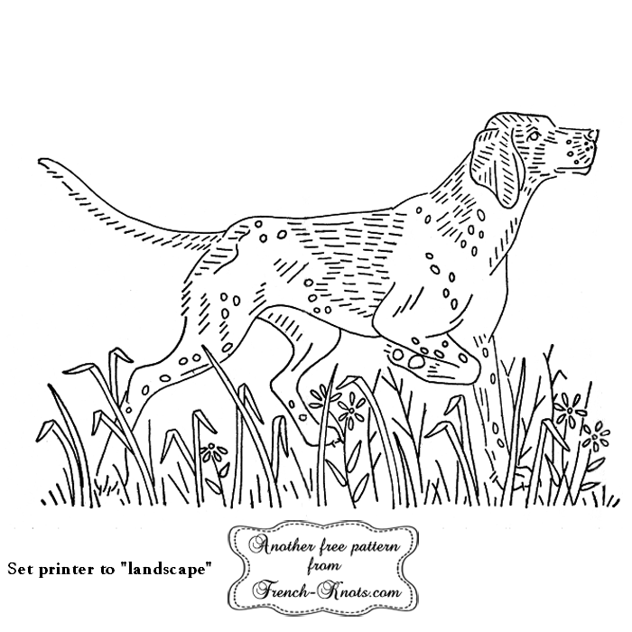 pointer dog embroidery pattern