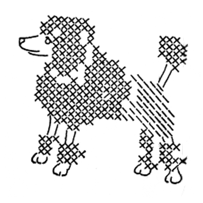 poodle cross stitch embroidery pattern
