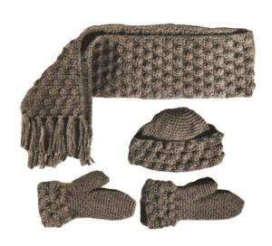 puff crochet pattern- scarf-hat-mittens