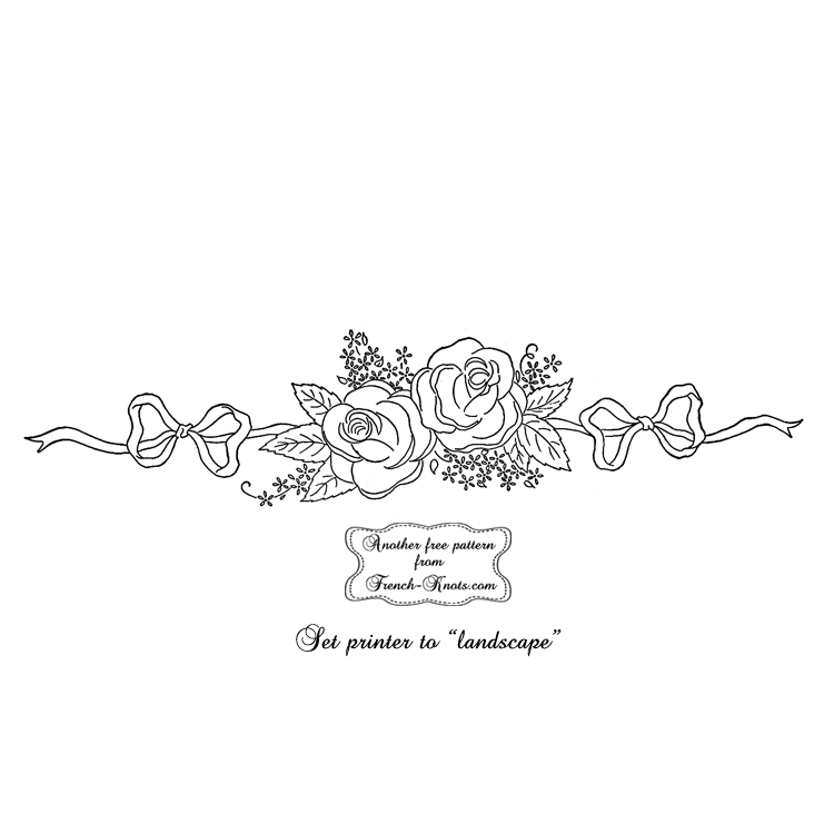 rose border embroidery pattern