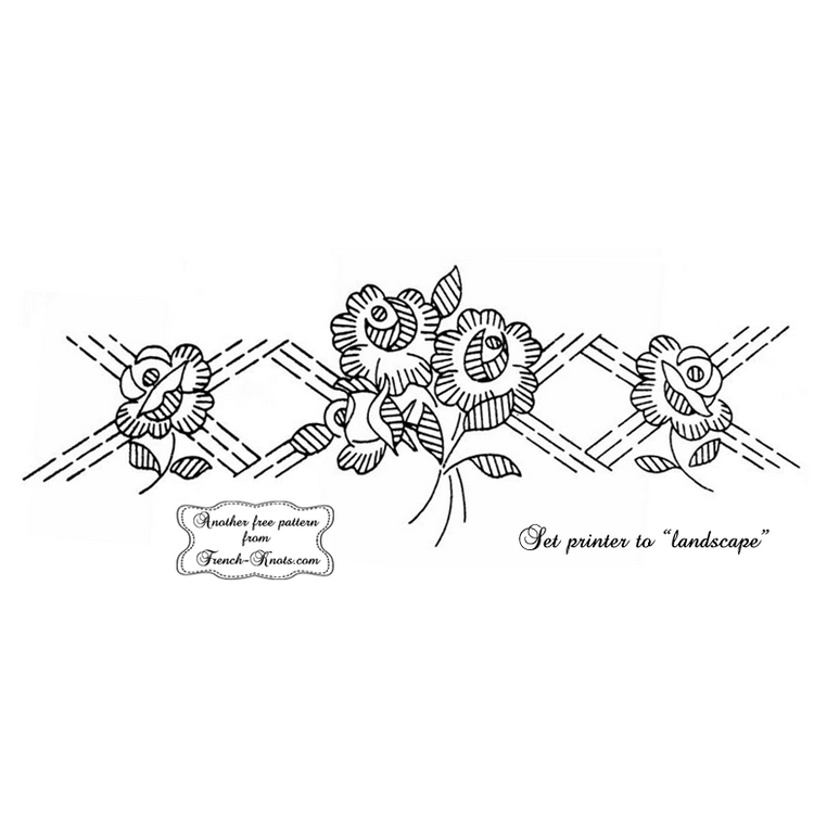 rose plaid border embroidery pattern