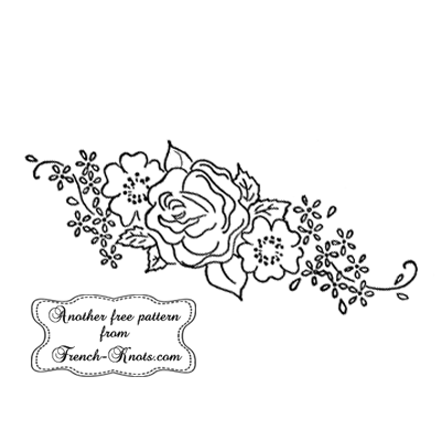 rose border spray embroidery pattern