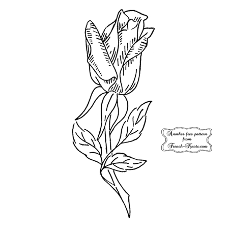 single rose embroidery pattern