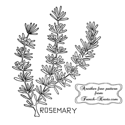 rosemary herb embroidery pattern
