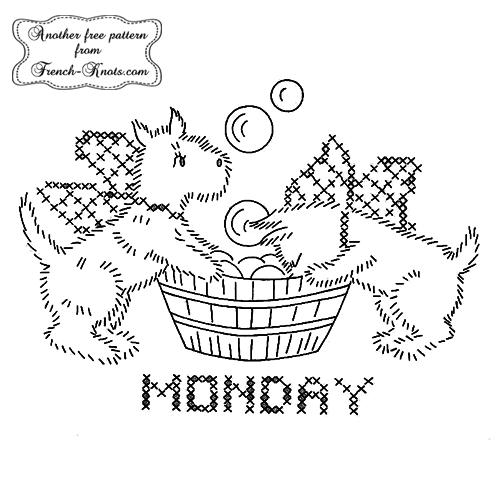 scottie-dog-monday embroidery pattern