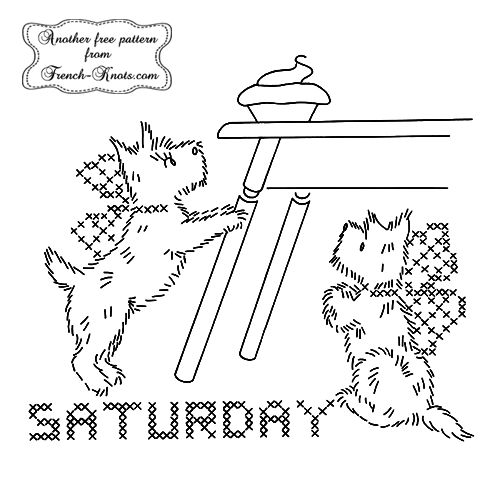 scottie-dog-saturday embroidery pattern