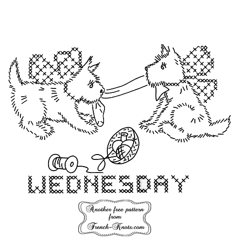 scottie-dog-wednesday embroidery pattern